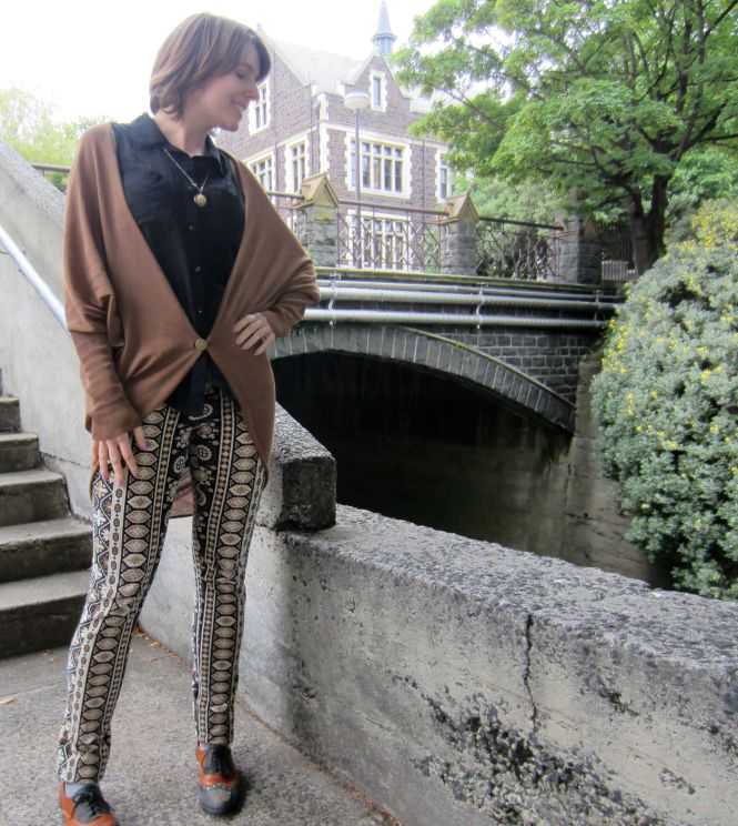 necklace: etsy, top: dotti (clearance!), cardi: witchery, pants: anthropologie, shoes: jeffrey campbell (from Free People)