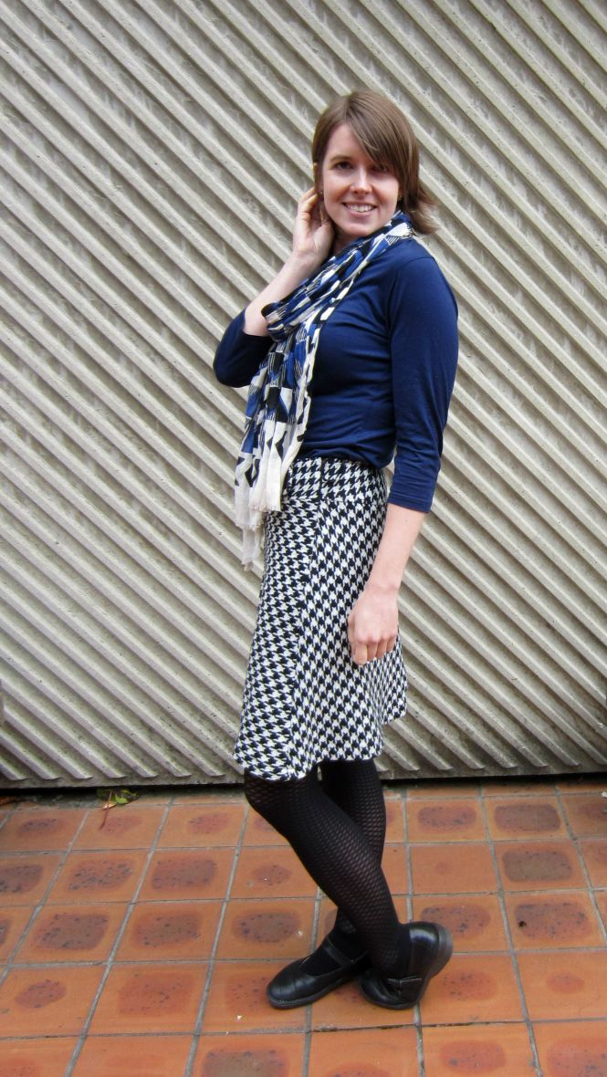 scarf: witchery, top: my ex-work, skirt: trademe, shoes: Dr. Marten