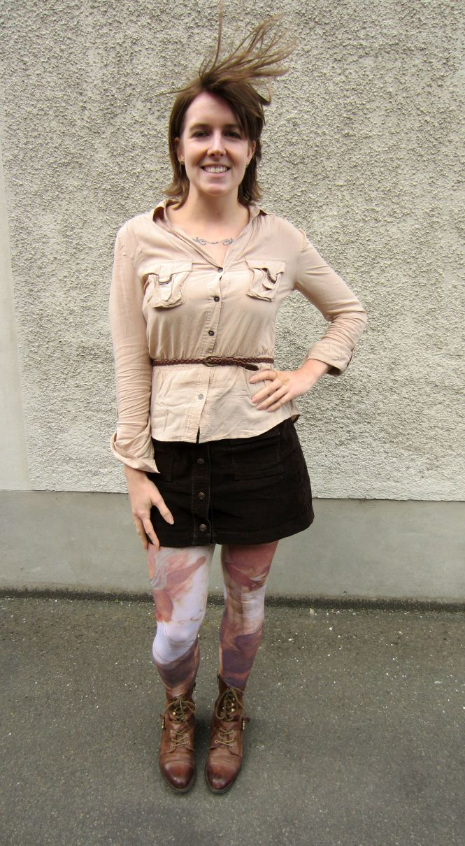 top: H&M, belt: thrifted, skirt: trademe (DKNY), tights: celeste stein, boots: OTBT Hutchinson