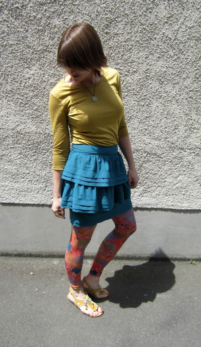 top: my ex-work, skirt: trademe (paper scissors), tights: celeste stein, jandals: lovely people