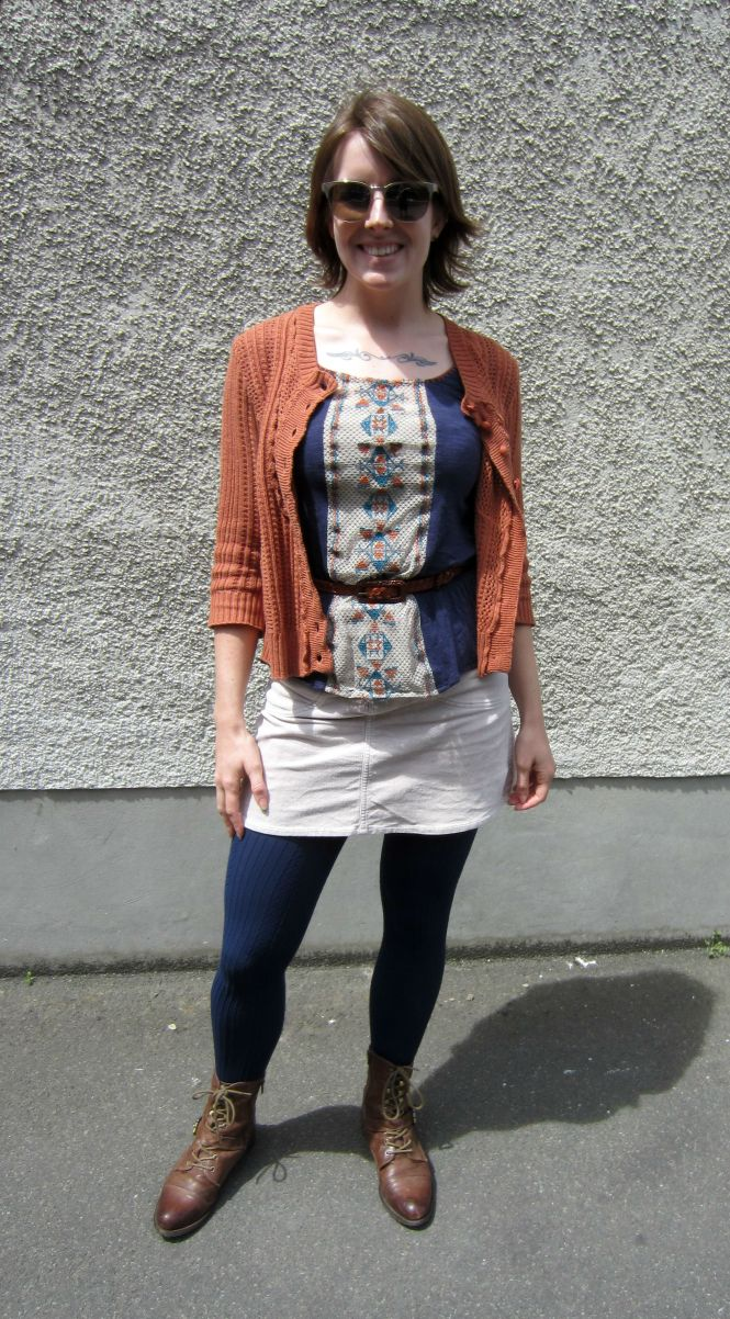 sunblasses: , sweater: trademe (dotti), top: modcloth, belt: thrifted, skirt: trademe (max), tights: farmers, boots: OTBT Hutchinson