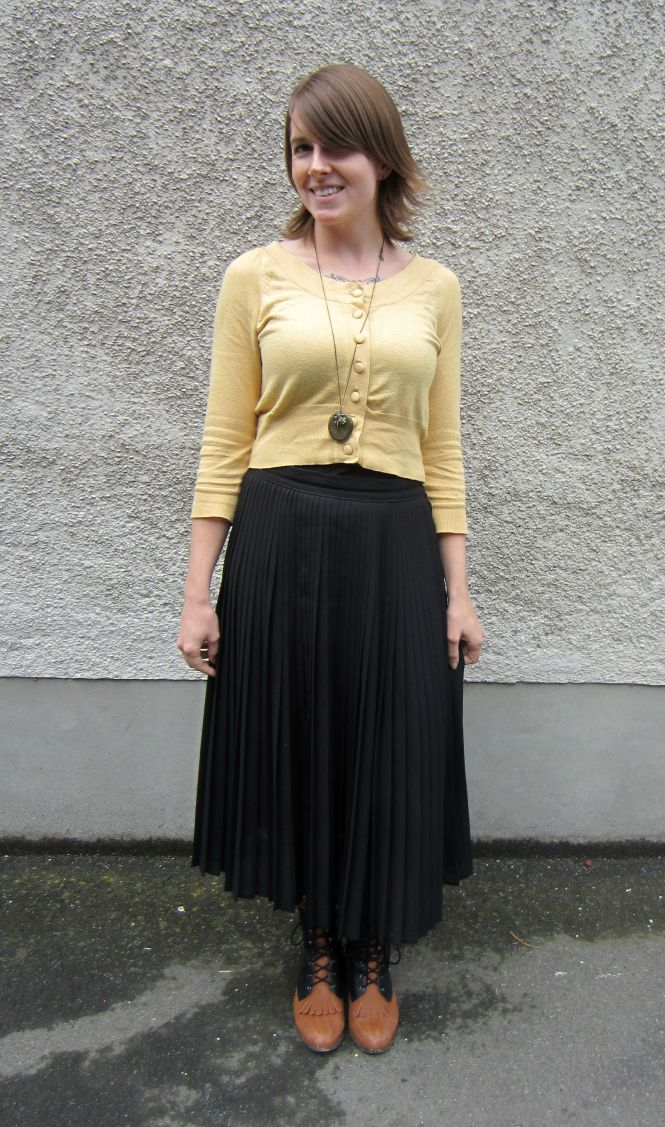 top: Portmans, necklace: Shop Ruche, skirt: Trademe, boots: Nasty Gal