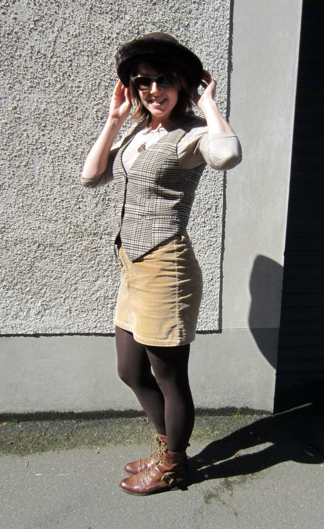 hat: free (clothes swap), vest: h & m, top: my ex-work, skirt: trademe, shoes: OTBT Hutchinson