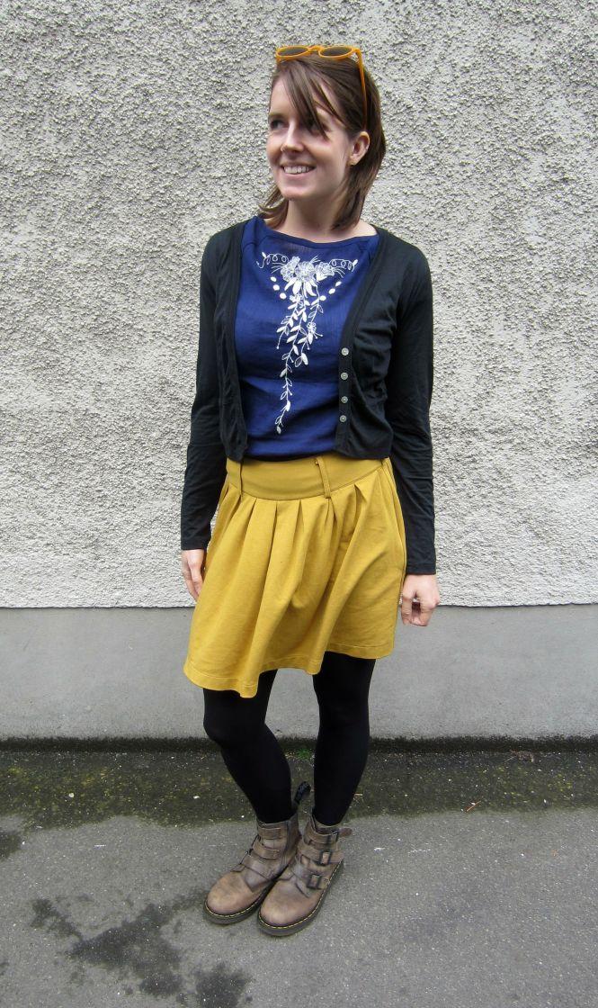 sunnies: ZeroUV, top: anthropologie, cardi: my ex-work, skirt: trademe, boots: dr. martens