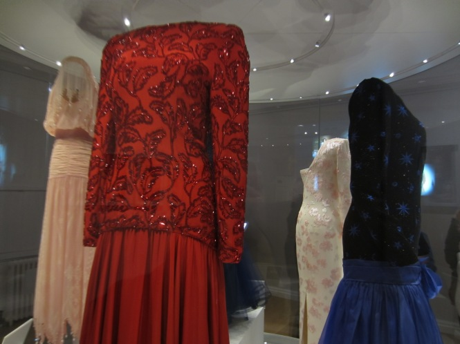 A number of Diana's Dresses at the Royal Costume Collection at Kensington Palace