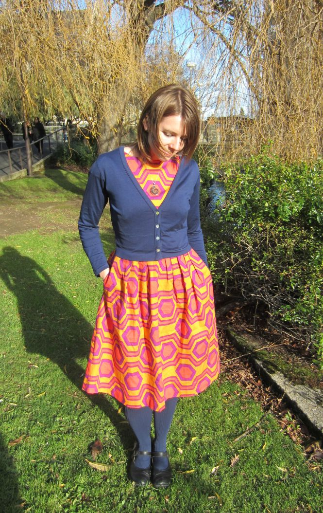cardi: my ex-work, dress: made by me, tights: farmers, shoes: dr. martens