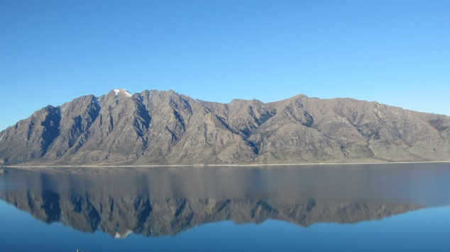 Mountains reflected into Lake Hawea on our drive home
