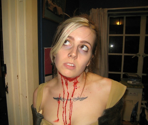 Halloween 2008 - Generic bleeding/dead girl in fancy gold dress