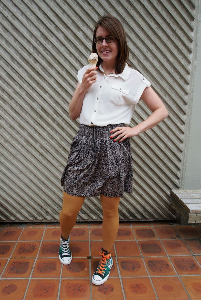top: trademe, skirt: trademe, tights: farmers?, shoes: converse (journeys)