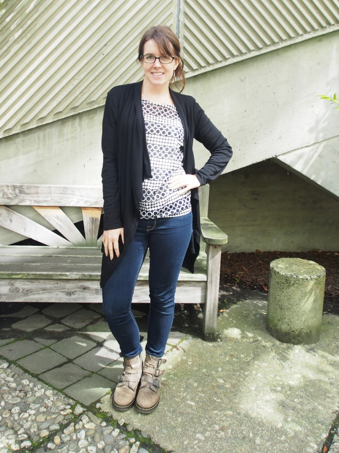 top: the limited, cardigan: witchery, jeans: 7 for all mankind, boot: dr martens