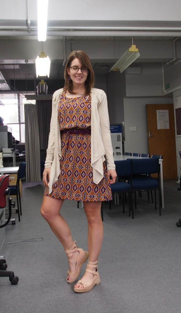 cardigan: witchery, dress: modcloth, belt: cotton on, shoes: jeffrey campbell