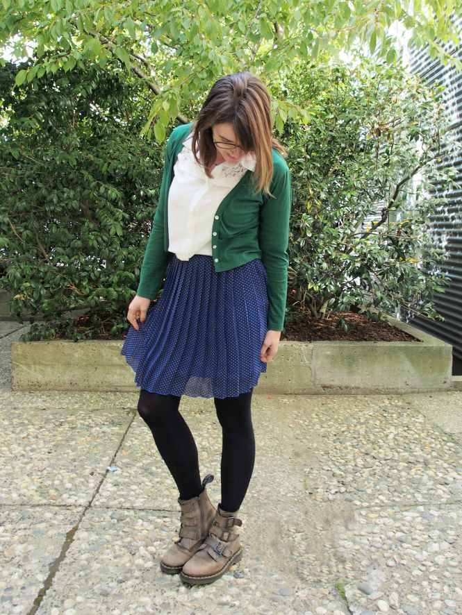 cardigan: my ex-work, top: trademe, skirt: trademe, boots: dr martens