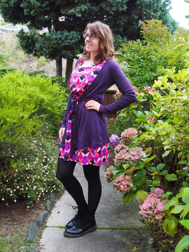 cardigan: free from a friend, dress: modcloth, shoes: dr. martens