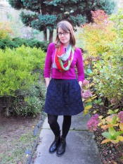 scarf: gift, top: trademe, skirt: trademe, shoes: dr. martens