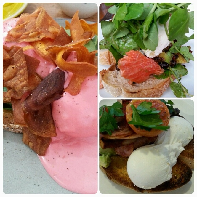 Brunches of Melbourne!  The left is eggs benedict with beetroot hollandaise.