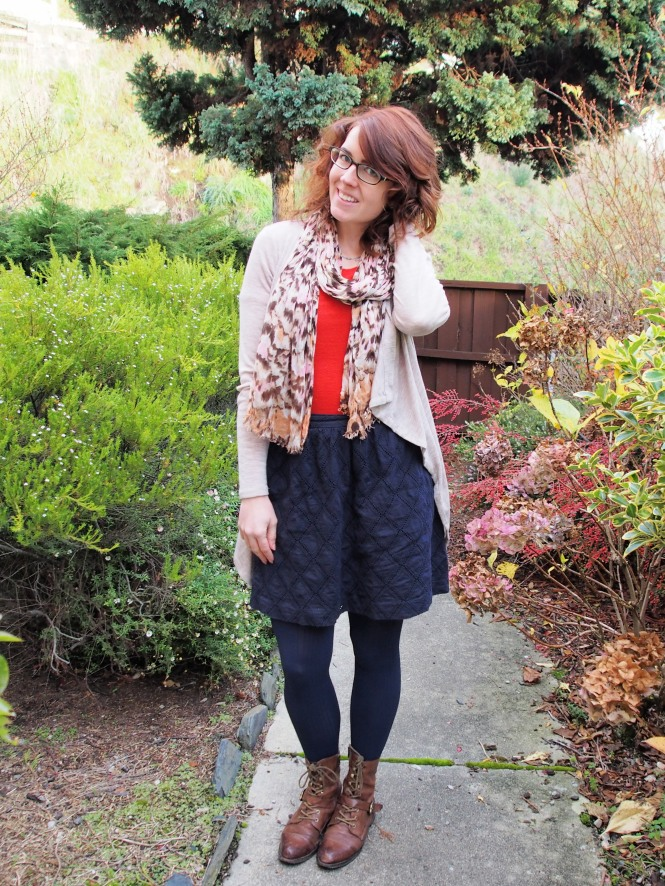 cardigan: witchery, scarf: witchery, top: max, skirt: trademe, boots: OTBT