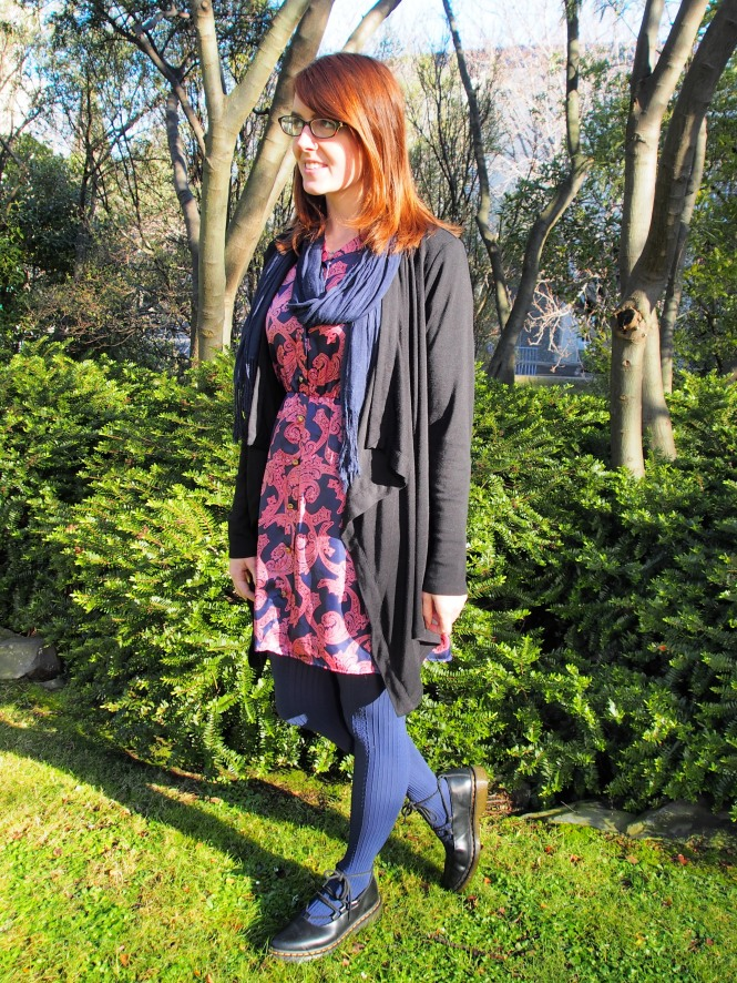 cardigan: witchery, scarf: witchery, dress: modcloth, shoes: dr. martens