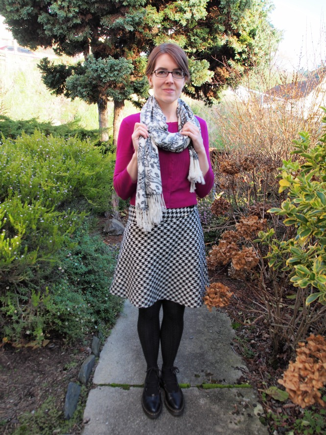 glasses: zenni, scarf: acquisitions, cardi: trademe, skirt: trademe, shoes: dr. martens