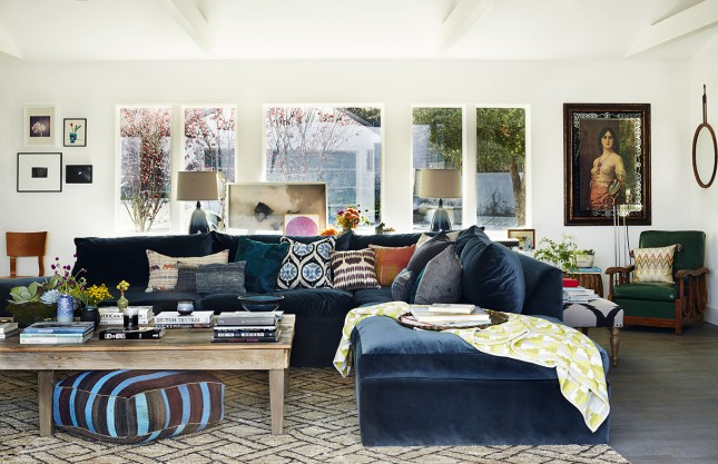 living-room-white-themed-navy-living-room-ideas-with-dark-black-modular-l-shaped-fabric-sofa-on-the-gray-tile-complete-with-the-retro-style-pillows-and-traditional-brown-wood-rectangle-shaped-table-on